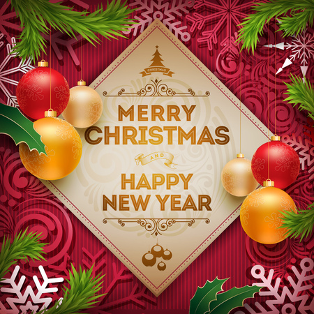 christmas objects: Vector Christmas and new year wishes on card. Christmas related ornaments objects on color background. Elements are layered separately in vector file.