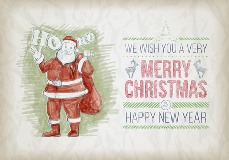 ho: Vector hand drawn Christmas graphic design sketch with Santa Claus. Santa Claus standing and smiling and say Ho Ho! Elements are layered separately in vector file.
