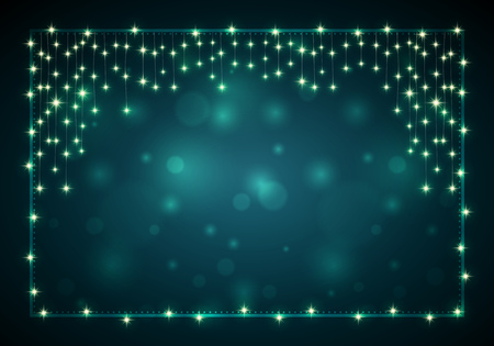 christmas lights background: Christmas frame with lights and blank dark bokeh background. With copy space. Elements are layered separately in vector file.