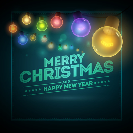 blue card: Old style colorful warm bulbs hanging on the bokeh night background. Vector banner illustration. Merry Christmas and Happy New Year message on the card. Illustration