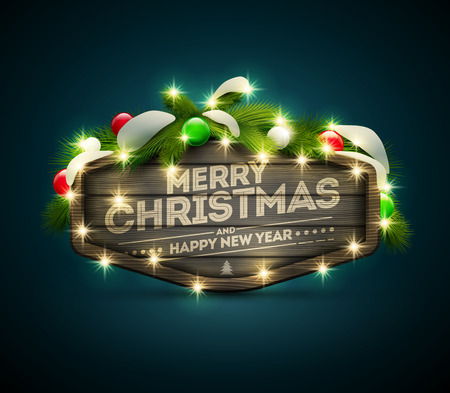 separately: Vector realistic illustration of wooden Christmas and New Year message board. Elements are layered separately in vector file. Illustration