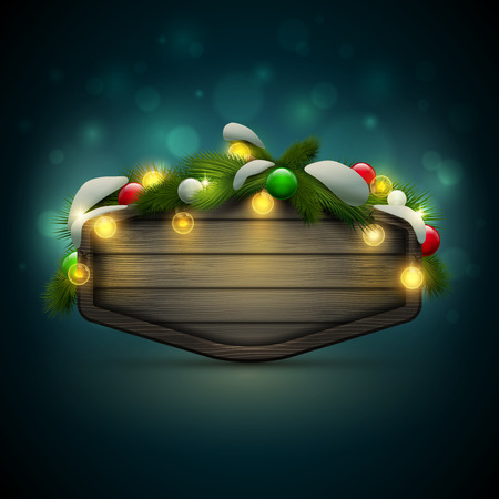 message board: Vector realistic illustration of wooden blank Christmas and New Year message board with pine branch, balls and light bulbs. Elements are layered separately in vector file.