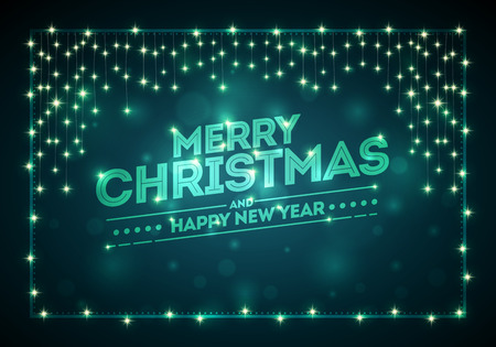 christmas lights background: Christmas frame with lights and dark bokeh background. Merry Christmas and Happy New Year message on background. Elements are layered separately in vector file.