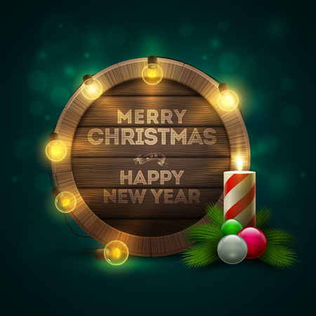 message board: Vector illustration of wooden Christmas and New Year message board with candle and light bulbs. Elements are layered separately in vector file. Illustration