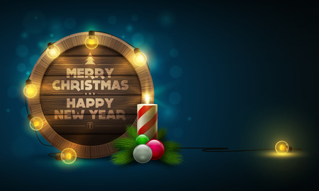 Vector illustration of wooden Christmas and New Year message board with candle and light bulbs. Elements are layered separately in vector file. Illustration