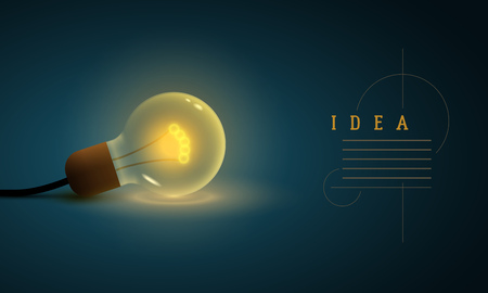 Idea concept design template. Vector illustration of old style lightbulb.