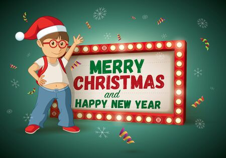 christmas movies: Kid with santa hat and Christmas and new year message light signboard. Vector illustration.