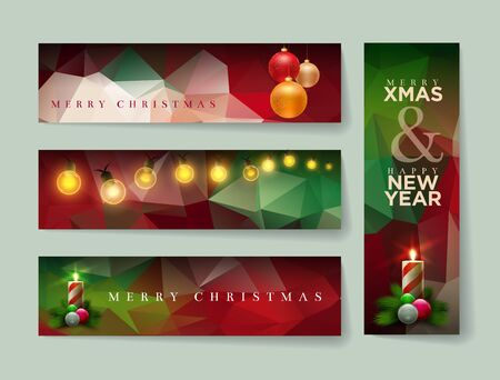 christmas banner: Vector Christmas banner design with abstract polygonal background. Horizontal and vertical template design set.