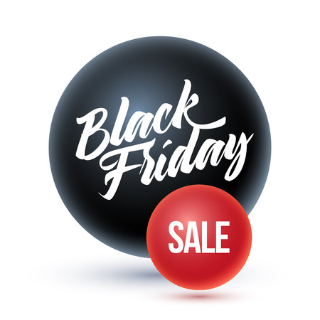 red sphere: Black Friday on black sphere and sale on red sphere.