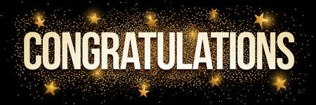 congratulations: Felicidades bandera con el brillo del oro. Ilustración del vector. Los elementos se acodan por separado en archivo vectorial. Vectores