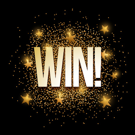 Win banner with gold glitter. Vector illustration. Elements are layered separately in vector file.