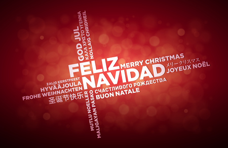 multilanguage: Multi language Merry Christmas typographic design.  Spanish text is in the middle of the page. Word Cloud in different languages. Vector illustration.