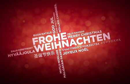 multilanguage: Multi language Merry Christmas typographic design.  German text is in the middle of the page. Word Cloud in different languages. Vector illustration.