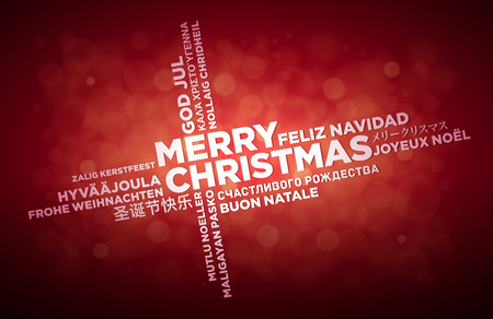 Multi language Merry Christmas typographic design.  English text is in the middle of the page. Word Cloud in different languages. Vector illustration. Illustration