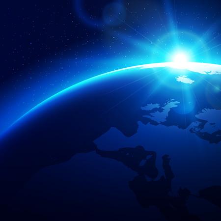 Sun raising over the blue planet earth. Vector illustration. Illustration