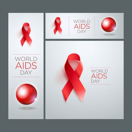 aids virus: World AIDS Day Awareness Ribbon Banner Set. Square, vertical and horizontal banners. Vector illustration.