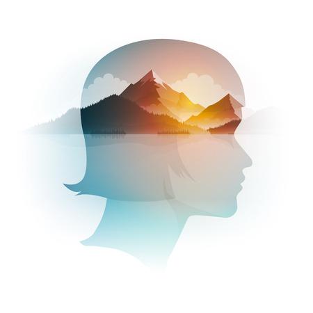 Vector retrato de niña de doble exposición y paisaje de montaña, bosque y mar. Ilustración del concepto.