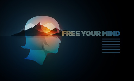 Free Your Mind. Vector poster template with concept illustration. Double exposure girl portrait and mountain, forest and sea landscape. Illustration