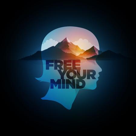 Free Your Mind. Vector concept illustration. Double exposure girl portrait and mountain, forest and sea landscape. Ilustração Vetorial
