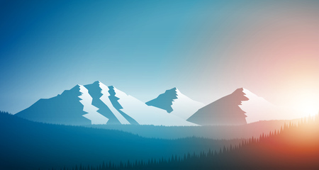 Sunrise in the mountain chain and forest. Vector landscape illustration. Elements are layered separately in vector file.