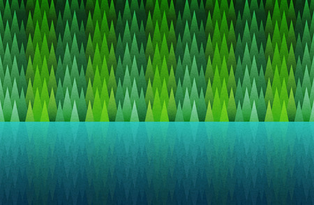 hush hush: Forest and lake seamless. Abstract nature landscape. Vector illustration. Elements are layered separately in vector file.