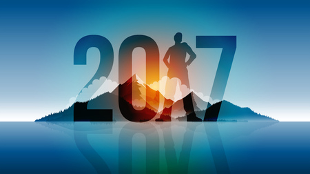 climbing mountain: Year 2017 outdoor concept greeting design. Elements are layered separately in vector file.