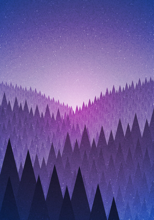 fog forest: Abstract nature landscape. Forest early morning. Vector illustration. Elements are layered separately in vector file.