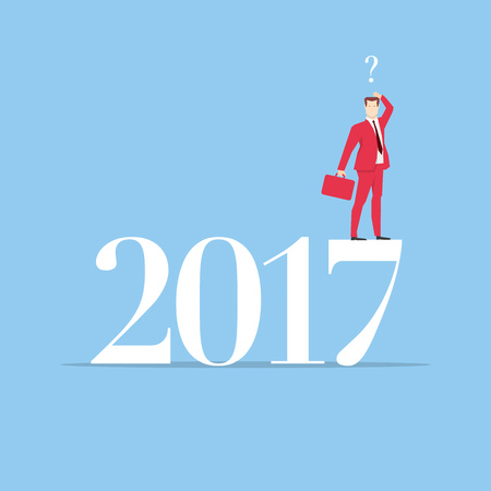 bemused: Businessman in red suit. Flat style business new year 2017 concept vector illustration.