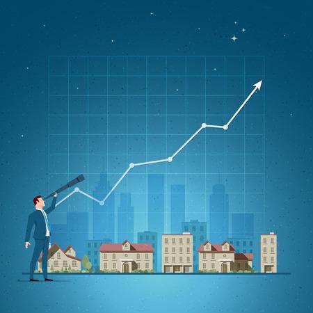ビジネス概念ベクトル イラスト。投資、不動産、投資機会、エージェント ポートフォリオ、プロパティの投資家の概念。要素は、ベクター ファイ