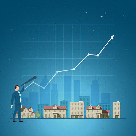 investor: Business concept vector illustration. Investing, real estate, investment opportunity, agent portfolio, property investor concept. Elements are layered separately in vector file.