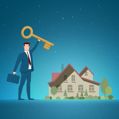 opportunity concept: Business concept vector illustration. Investing, real estate, investment opportunity, selling or buying concept.  Elements are layered separately in vector file. Illustration