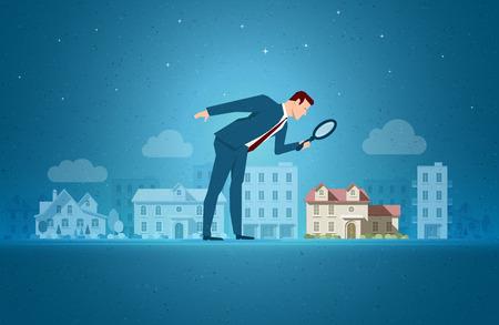 Business concetto illustrazione vettoriale. Investire, immobiliare, concetto di opportunità di investimento. Gli elementi sono disposti separatamente in file vettoriali. Vettoriali