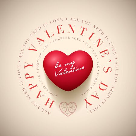 Vector Valentines Day greeting card design template. Elements are layered separately in vector file.