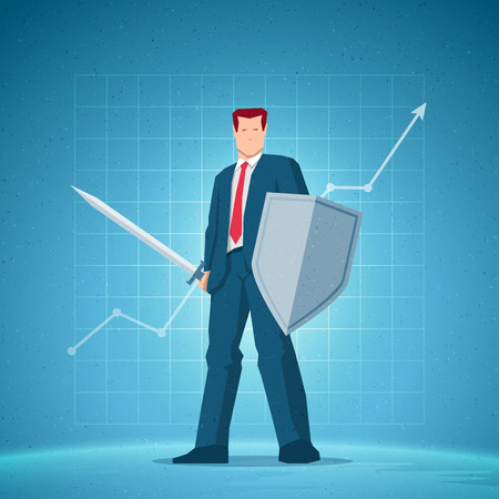 Business concept illustration. Businessman holding a sword and shield. Chart on background. Elements are layered separately in vector file.