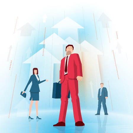 Businessman is standing in front of two business people on rising arrows background. Vector illustration. Elements are layered separately in vector file.