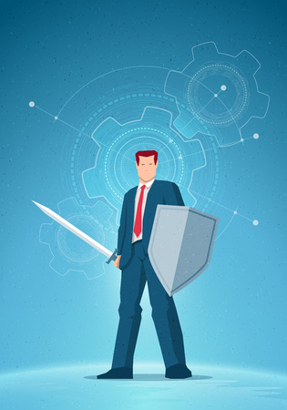 financial symbols: Business concept illustration. Businessman holding a sword and shield. Gear drawings on background. Elements are layered separately in vector file. Illustration