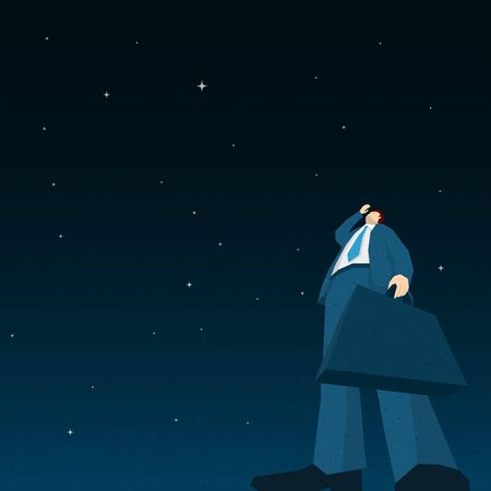 man looking at sky: Businessman searching in the night. Vector illustration. Illustration