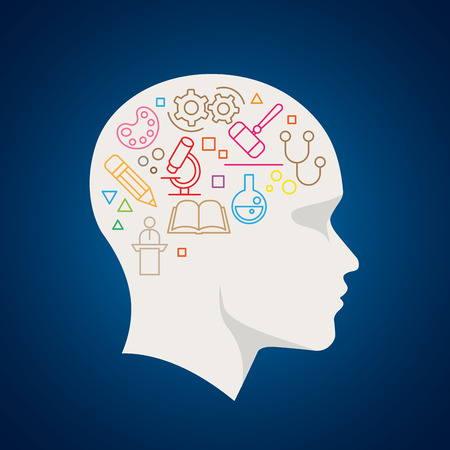 thinking person: Vector all sciences symbols in human brain. Concept illustration.
