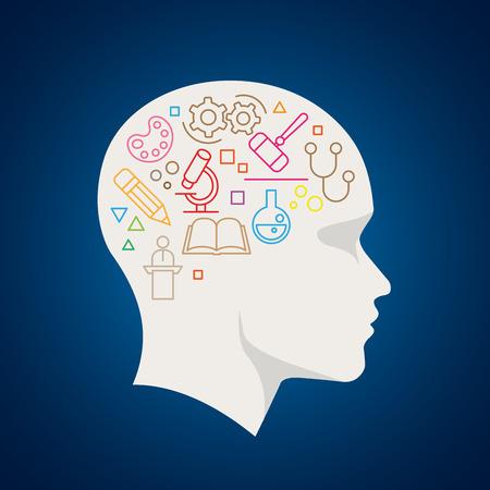 persona pensando: Vector todas las ciencias símbolos en cerebro humano. La ilustración del concepto.