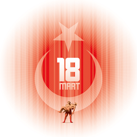 18th March Martyrs Remembrance Day, Canakkale. Republic of Turkey National Celebration Card Design. Anniversary of Canakkale Victory.  イラスト・ベクター素材