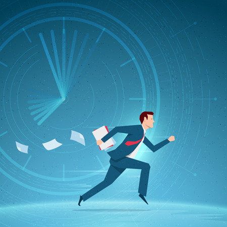 busy person: Business concept illustration. Businessman running in a hurry with papers. Elements are layered separately in vector file.