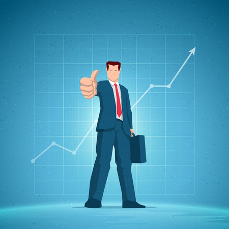 Business concept illustration. Businessmen showing all right, OK hand sign gesture. Rising chart on the blue background. Elements are layered separately in vector file.