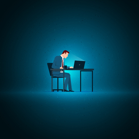 lonely person: Business concept illustration. Businessman sitting and working with laptop. Elements are layered separately in vector file.