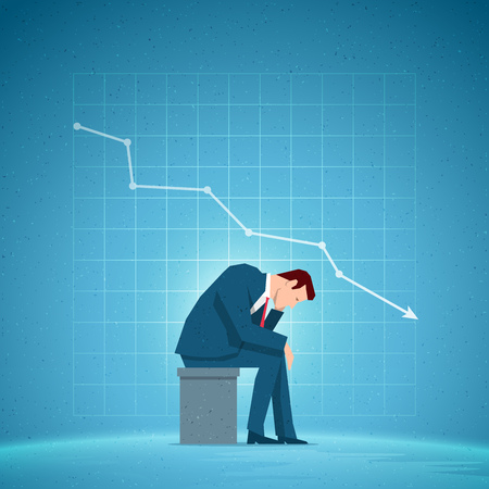 Business concept illustration. Sitting sad businessman. Falling chart on the blue background. Elements are layered separately in vector file.