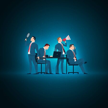 Business concept illustration. Business people working. Elements are layered separately in vector file.