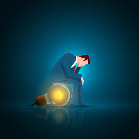 downhearted: Business concept illustration. Businessman sitting on the bulb. Elements are layered separately in vector file.