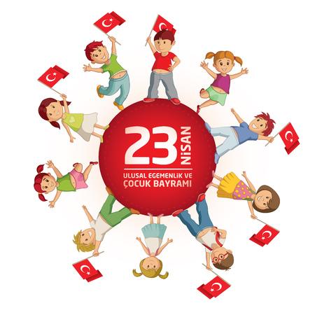 niños saludo: Ilustración vectorial de la 23 Nisan Çocuk Bayrami, 23 de abril Soberanía nacional turca y el Día del Niño, plantilla de diseño para las vacaciones turcas. Vectores