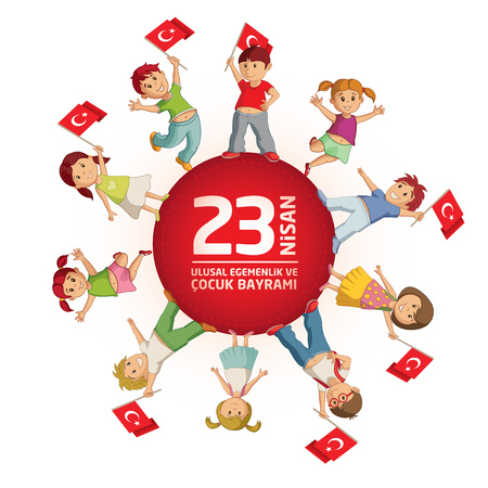 Vector illustration of the 23 Nisan Çocuk Bayrami, April 23 Turkish National Sovereignty and Childrens Day, design template for the Turkish holiday. Ilustração