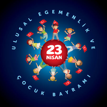 Vector illustration of the 23 Nisan Çocuk Bayrami, April 23 Turkish National Sovereignty and Childrens Day, design template for the Turkish holiday.