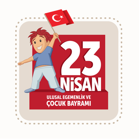 national holiday: Vector illustration of the April 23 Childrens Day, April 23, Turkish National Sovereignty and Childrens Day design template for the Turkish holiday.